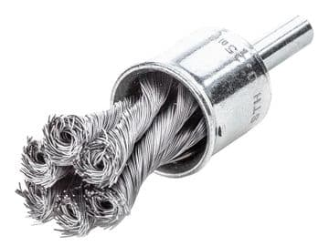 Knot End Brush with Shank 19mm, 0.35 Steel Wire